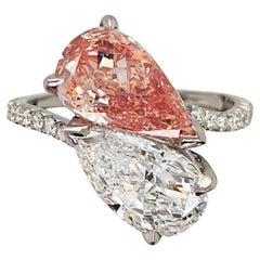 2.28 & 2.10 Carat Pear-Shaped Fancy Pinkish Orange & White Diamond Ring GIA