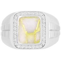 2.28 Carat Cushion Cut Gold in Quartz and Diamond Men's Ring