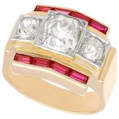 2.28 Carat Diamond and Ruby Yellow Gold Cocktail Ring Vintage, French