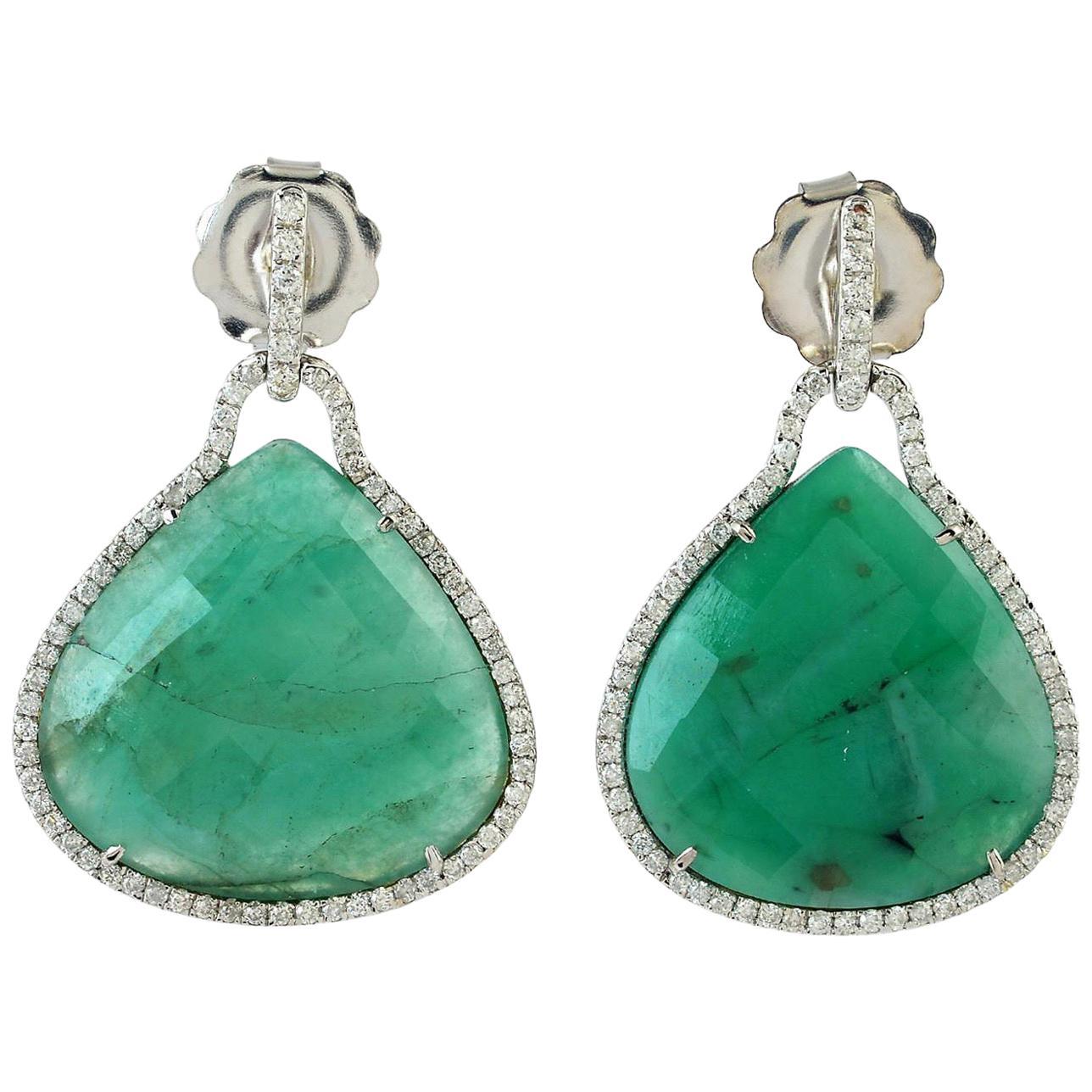 22.8 Carat Emerald Diamond 18 Karat White Gold Earrings
