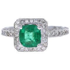 2.28 Carat Emerald Diamond 18 Karat White Gold Engagement Ring