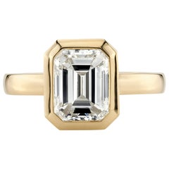 2.28 Carat GIA Certified Emerald Cut Diamond Set in an 18 Karat Yellow Gold Ring