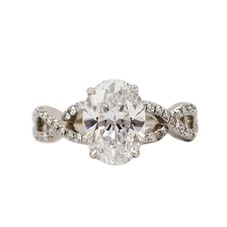 2.28 Carat GIA D VVS1 Oval Brilliant Diamond and Platinum Ring