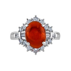 2.28 Carat Mexican Fire Opal Cabochon Ring Set in Platinum