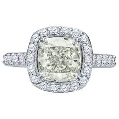 2.28 Carat Natural Light Green Cushion Cut Diamond 'GIA' in a Diamond Halo Ring