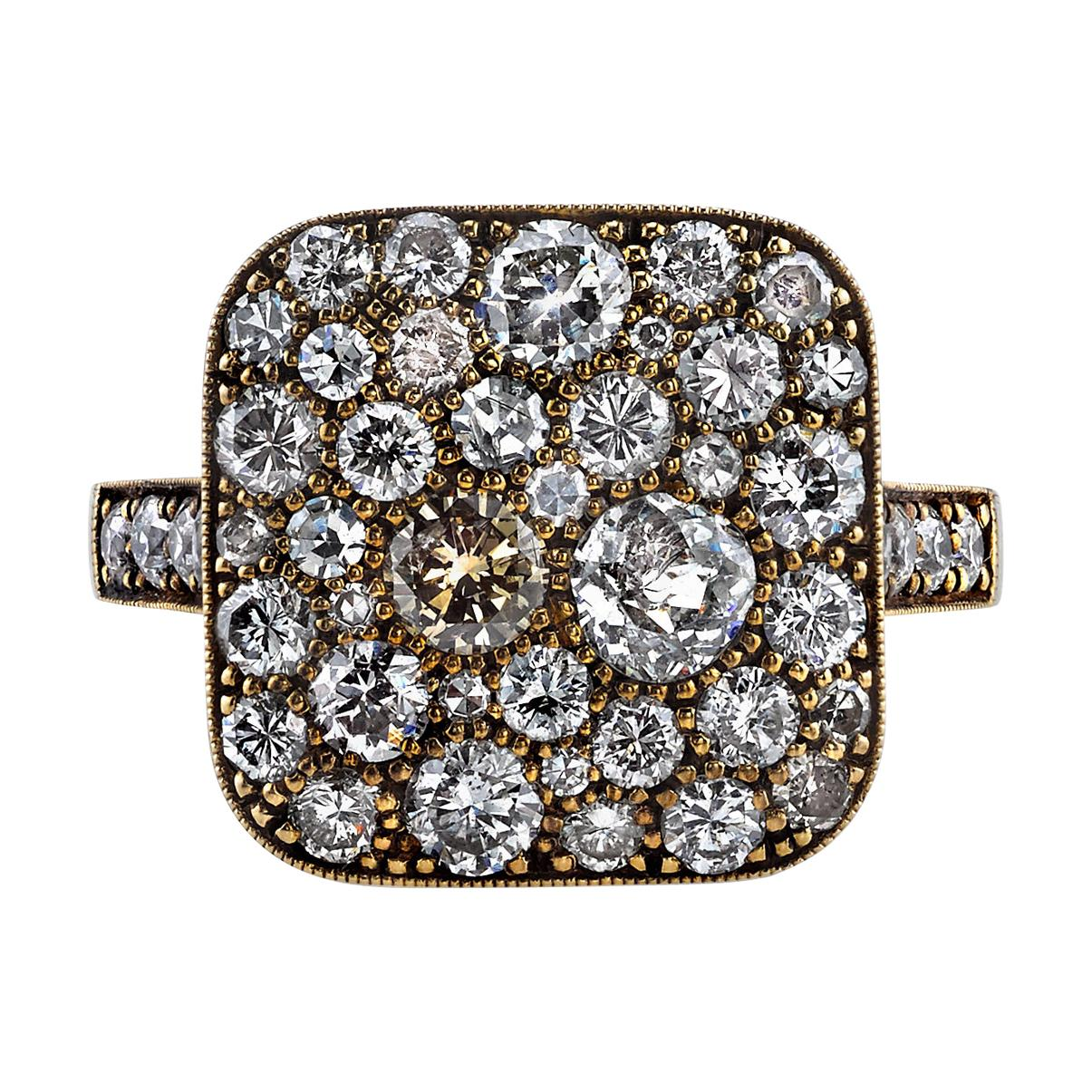 Approx. 2.30 Carat Mixed Cut Diamonds Set in a Handcrafted 18K Yellow Gold Ring