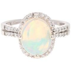 2.28 Carat Opal Diamond 14 Karat White Gold Ring