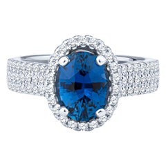 2.28 Carat Oval Blue Sapphire and Diamond Ring, GIA Certified
