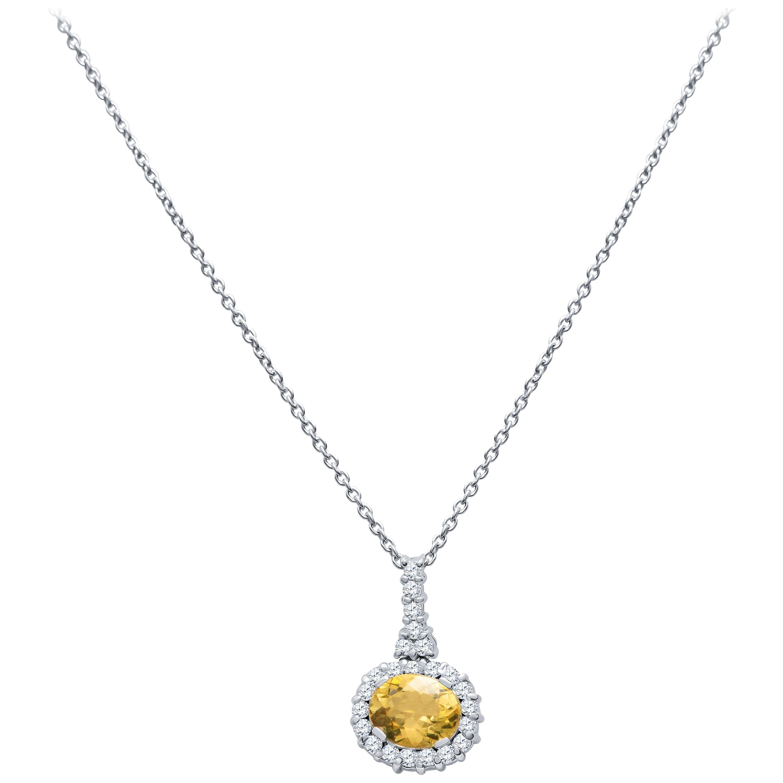 2.28 Carat Oval Golden Beryl Pendant Necklace with 0.69 Carat Round Diamonds