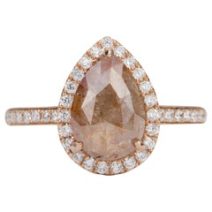 2.28 Carat Pear Salt and Pepper Diamond Halo 14 Karat Rose Gold Ring AD1707-13