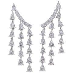 2.28 Carat Pear Shape Diamond Fall Earrings White Gold Diamonds Dangle Earrings