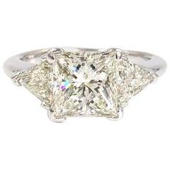 2.28 Carat Princess Cut Diamond Three-Stone White Gold Engagement Ring