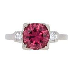2.28 Carat Round Pink Tourmaline and Diamond Vintage Ring, 900 Platinum