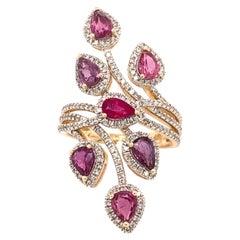 2.28 Carat Ruby Diamond Cocktail Ring