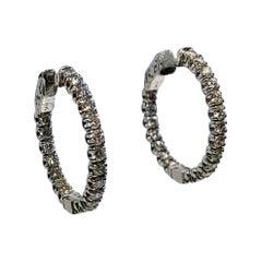 2.28 Carat VS G Color Diamond Inside/Outside Round Hoop Earrings in White Gold