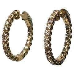 2.28 Carat White Diamond Inside/Outside Round Hoop Earrings in Yellow Gold