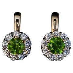 2.28 Ct Russian Demantoid Diamond Gold Cluster Earrings