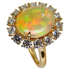 2.28 Cts Opal & Diamond Ring, Fire Orange, Green & Blue, Superb Play of Color