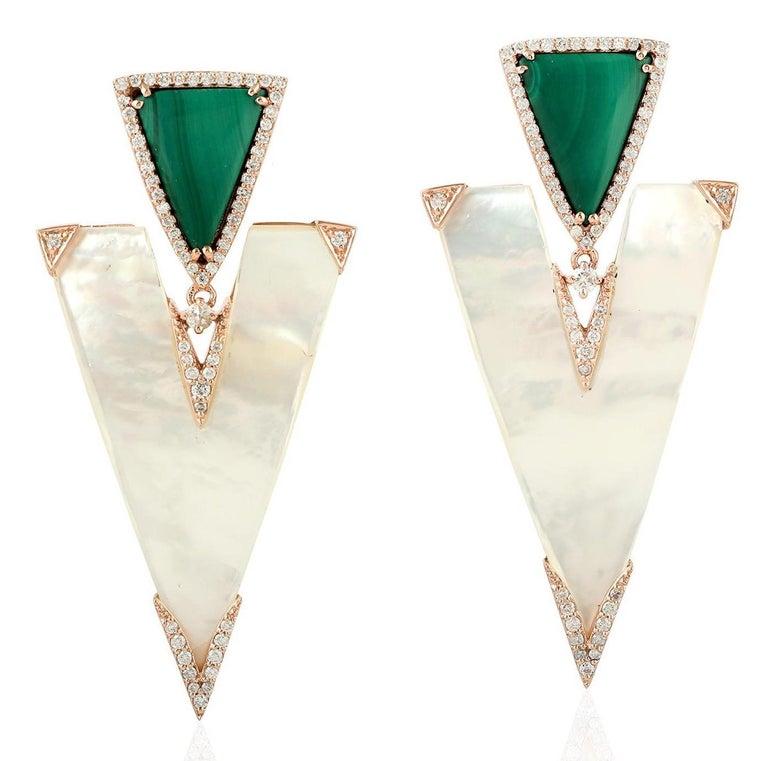 Rose Cut 22.85 Carat Mother of Pearl Malachite Diamond 18 Karat Gold Earrings For Sale