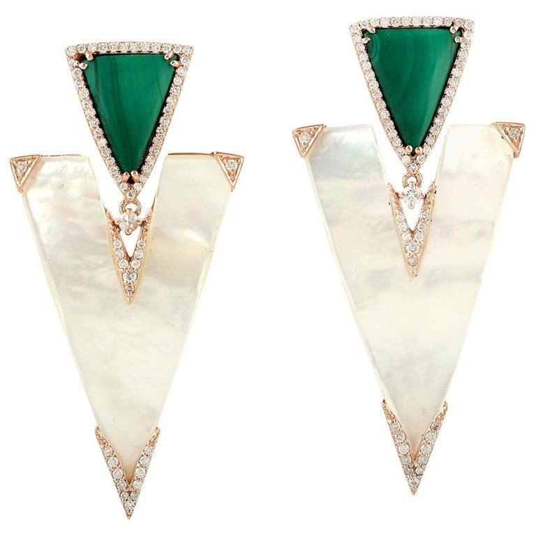22.85 Carat Mother of Pearl Malachite Diamond 18 Karat Gold Earrings For Sale