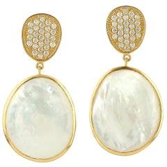 22.85 Carat Mother of Pearl Malachite Diamond 18 Karat Gold Earrings