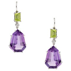 22.86 Carat Shield Shaped Amethyst, Peridot, and Diamond Earrings in Platinum