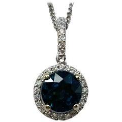 2.28ct Deep Blue Sapphire Diamond Round Cut 18k White Gold Halo Cluster Pendant