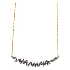 2.29 Carat Aquamarine Gold Bar Necklace by Lauren Harper