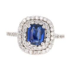 2.29 Carat Blue Sapphire Diamond Ring GIA Certified 14 Karat White Gold Ring