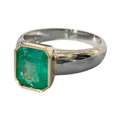 2.29 Carat Emerald Solitaire Ring Two Tone 18K Gold