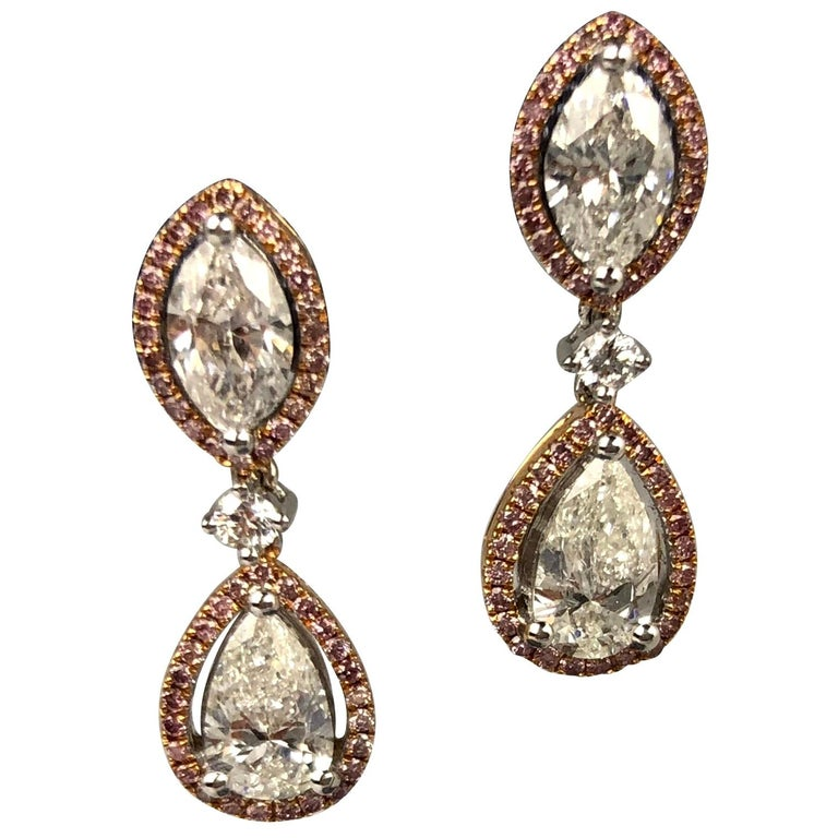 2.29 Carat Marquise and Pear Shape Diamond Halo Drop Earrings in 18 Karat Gold For Sale