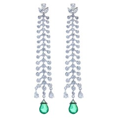 2.29 Carat Natural Drop Shaped Emerald and 3.64 Diamond Earring Set in 18K Gold