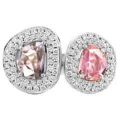 2.29 Carat Purple and Pink Sapphire 18 Karat Two-Stone Diamond Ring