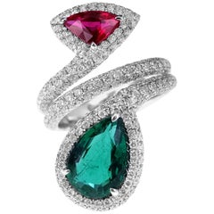 2.29 Carat Radiant Green Emerald and 1.02 Carat Blistering Red Ruby Ring