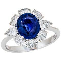 2.29 Carat Sri Lanka Vivid Blue Sapphire GRS Certified, Unheated Ceylon Ring