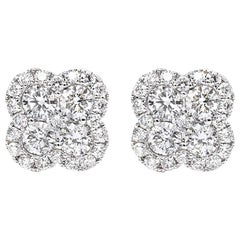 2.29 Carat VS2 Clarity G/H Color Clover Shape Diamond Stunning Stud Earrings