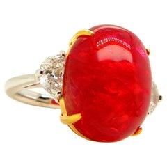 22.93 Carat GRS Certified Burma No Heat Vivid Red Spinel Cabochon Diamond Ring