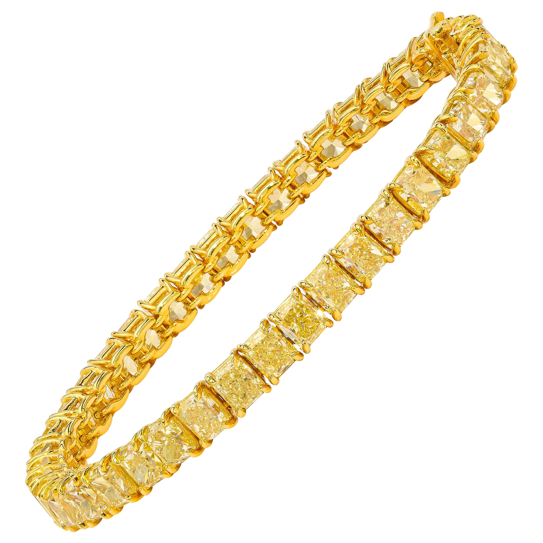 22.98 Carat Fancy Yellow Diamond Cushion Cut Tennis Bracelet