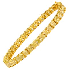 22.98 Carat Fancy Yellow Diamond Cushion Cut Tennis Bracelet