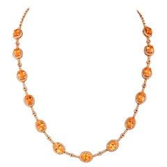 22.99 Carat Spessartite Necklace in 18 Karat Rose Gold with Diamonds