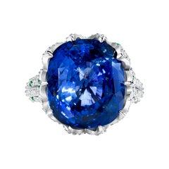 22ct Ceylon Blue Sapphire 18K White Gold Ring