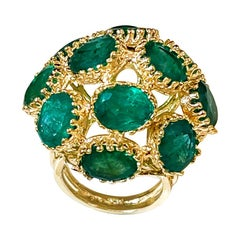 22Ct Natural Emerald, 12 Oval Stone Dome Shape Cocktail Ring 14 Kt Yellow Gold