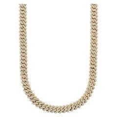22ctw Round Brilliant Diamond 14kt Yellow Gold Cuban Link Chain