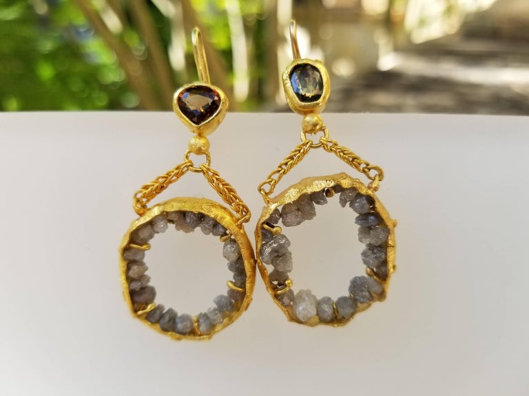 Untitled Earrings. Fun, asymmetrical 21k solid gold dangle chandelier earrings featuring demantoid garnets and grey raw diamonds. Perfect for every day. Their neutral subtle color allows easy coordination with any outfit. Show off your whimsical