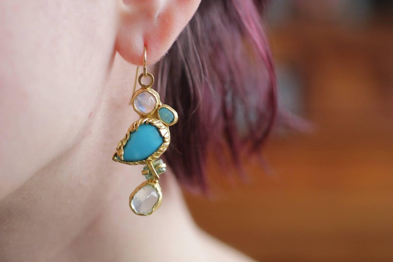 Turquoise Tourmaline Crystals 22k-21k Gold Handmade Dangle Drop Organic Earrings For Sale 6