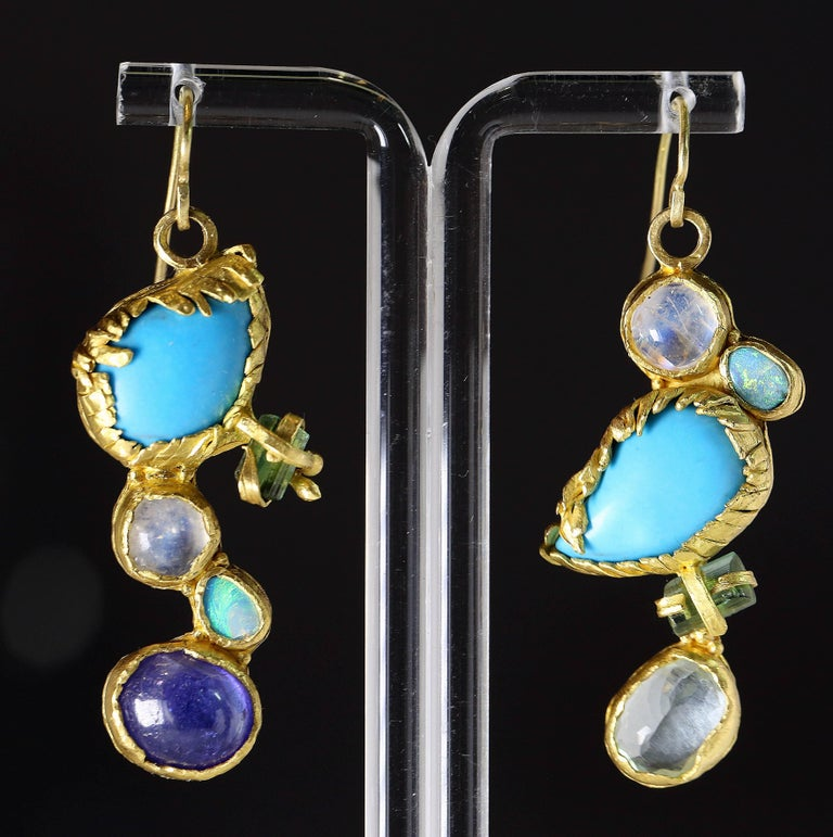 Cabochon Turquoise Tourmaline Crystals 22k-21k Gold Handmade Dangle Drop Organic Earrings For Sale