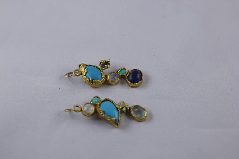 Women's Turquoise Tourmaline Crystals 22k-21k Gold Handmade Dangle Drop Organic Earrings For Sale