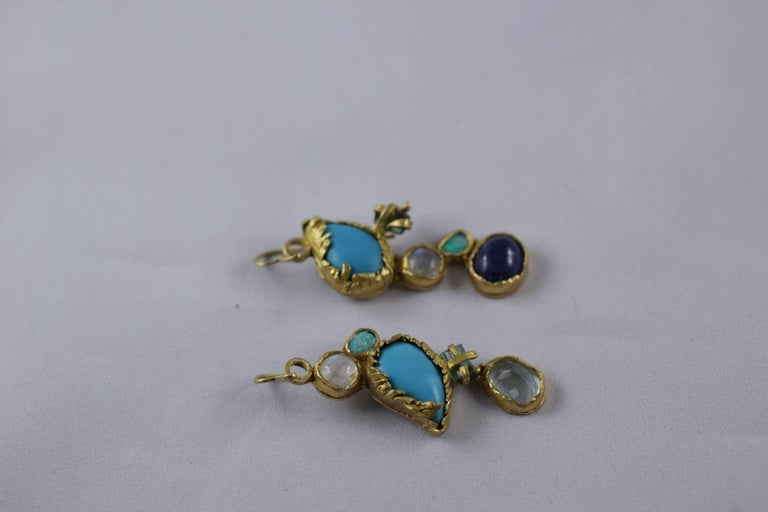 Turquoise Tourmaline Crystals 22k-21k Gold Handmade Dangle Drop Organic Earrings For Sale 1