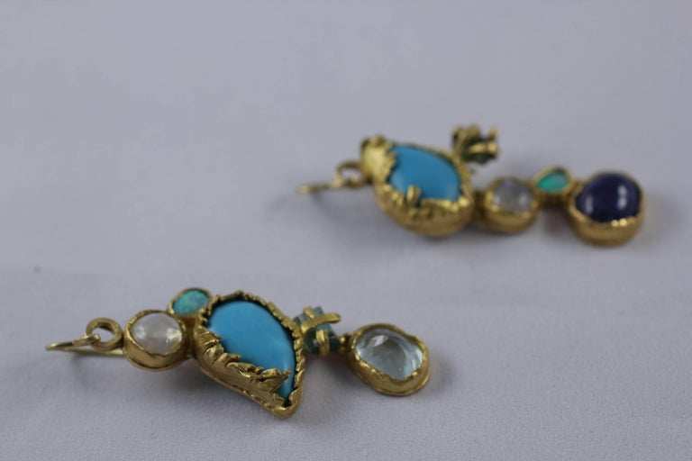 Turquoise Tourmaline Crystals 22k-21k Gold Handmade Dangle Drop Organic Earrings For Sale 3