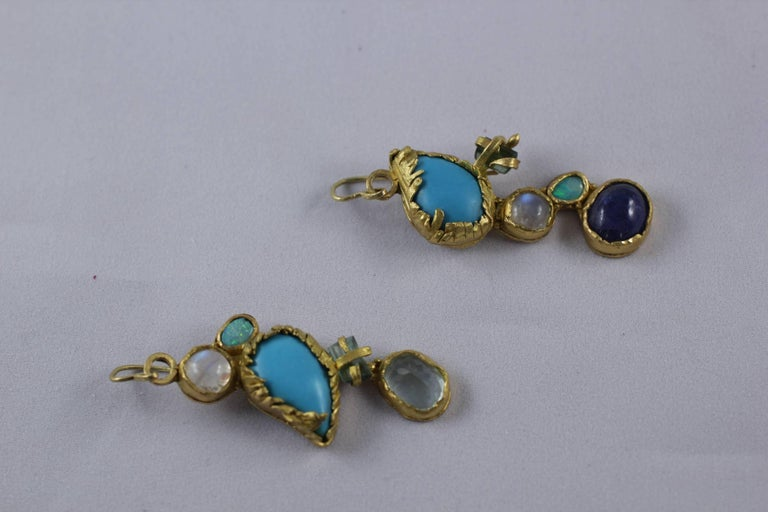 Turquoise Tourmaline Crystals 22k-21k Gold Handmade Dangle Drop Organic Earrings For Sale 4